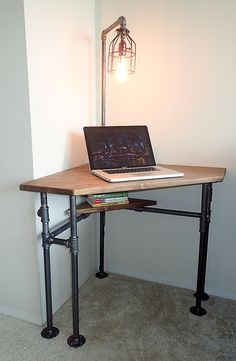 Industrial Pipe Corner Desk pub height or by IndustrialDesignsByB