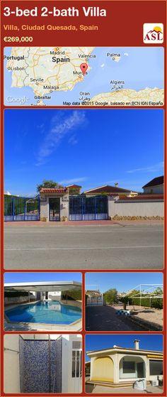 3-bed 2-bath Villa in Villa, Ciudad Quesada, Spain ►€269,000 #PropertyForSaleInSpain