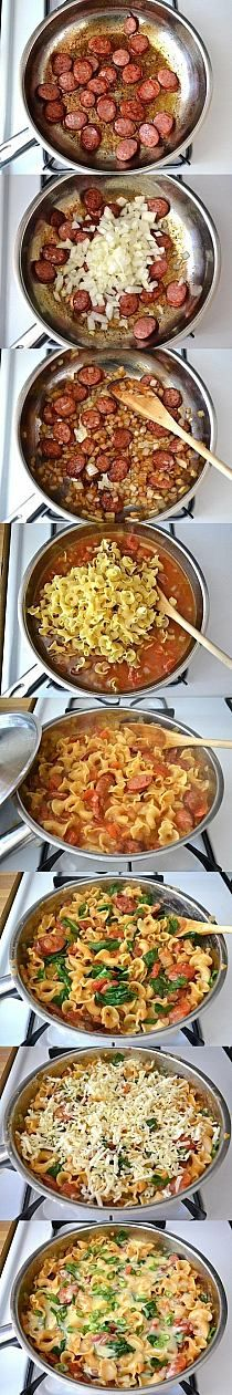 Creamy spinach and sausage pasta a. Big Italian Hug sausage and veggies;recipes with sausage dinner;spaghetti with sausage;orrechiette with sausage; Pork Recipes, Veggie Recipes, Pasta Recipes, New Recipes, Cooking Recipes, Recipe Pasta, Recipies, Cheese Recipes, Sausage Recipes For Dinner