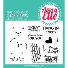 Avery Elle Clear Stamps. These clear stamps peel off their backing and stick to any acrylic block making for easy stamping. Simply apply your favorite ink and stamp crisp clear images! They are made from 100% photo-polymer which is latex free, phthalate free, non- toxic and biodegradable. This package contains Hang In There: a set of 12 clear st...