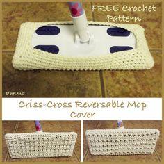 Criss-Cross Reversable Mop Cover ~ FREE Crochet Pattern