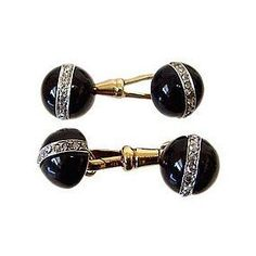 Onyx Platinum Gold And Diamond Cufflinks 1910