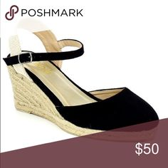 Ladies ankle strap buckle, backless wedge. Black Really stylish wedge backless shoes for ladies, around 3 inches heels, man made suede, ankle buckle strap, brand new in box.this listing is for the Black shoes but only available in Tan color in different listing NO TRADES SHOEROOM21 boutique Shoes Wedges