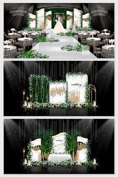 Sen small fresh wedding effect map Wedding Backdrop Design, Wedding Stage Design, Reception Backdrop, Wedding Set Up, Wedding Decor, Backdrop Decorations, Backdrops, Vertical Garden Design, Green Theme