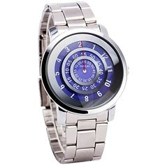 Luxury Fashion Men Women Purple Quartz Wrist Watch Metallic Strap Unique No Hand Rotational Display  Gift Box -- Check out the image by visiting the link.