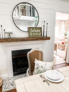 fall decor kitchen dining room #falldecor #greenfalldecor Kitchen Dining, Kitchen Decor, Dining Room, Fall Wood Signs, Faux Wood Beams, Fall Table, Fireplace Mantels, Autumn Inspiration, Decorating Tips