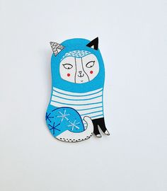 DIY SOUVENIR PAINTED/MARKERED/COLOURED PLASTIC FIGURE/DISK then SHRUNK & PINBACK PUT ON - PICK UP AT END OF SHOW.  Clara Shrink Plastic Cat Brooch by messymai on Etsy