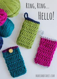 Crochet Cell Phone Cozy @makeandtakes.com #crochetaday