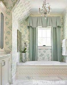 Beautiful bathroom colors #Shabbychicbathrooms Bathroom Window Treatments, Valance Window Treatments, Bathroom Windows, Cornices, Window Curtains, Bathroom Wallpaper, Rideaux Design, Atlanta Homes, Beautiful Bathrooms