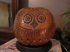Owl Gourd lamp by TheGoldenGourd on Etsy, $85.00