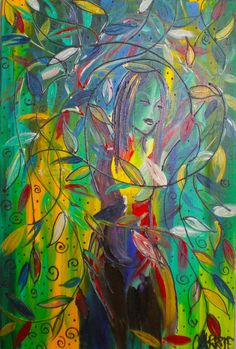 Original Acrylic Painting on Canvas  Goddess by CARRIERYANART, $500.00
