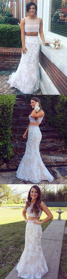 Long Formal Dresses White, Two Piece Formal Dress Lace, Mermaid Party Dresses, Floor-length Evening Dresses