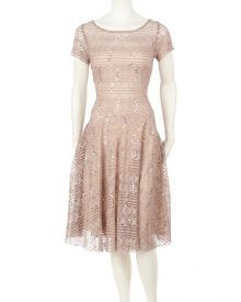 Stretch Lace Fit & Flare Dress with Sequins, Main View