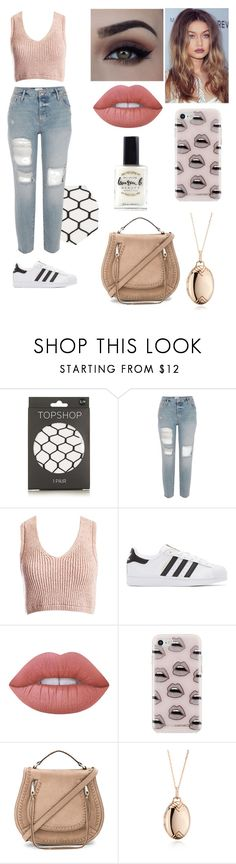 """""""Dinner for One"""" by itskatelinmarie ❤ liked on Polyvore featuring Topshop, Sans Souci, adidas Originals, Lime Crime, Rebecca Minkoff, Monica Rich Kosann and Lauren B. Beauty"""