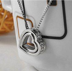 Halskette mit Herz in Herz Anhänger in Silber mit Kristall Steinen Liebe Partner