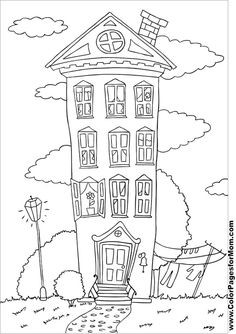 house coloring page 20 free sample join fb grown up coloring group - Color Drawing Book
