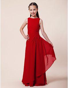 Sheath/Column Bateau Floor-length Chiffon Junior Bridesmaid Dress in white - USD $ 77.59
