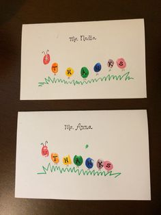Thank you cards for teacher- caterpillar fingerprints
