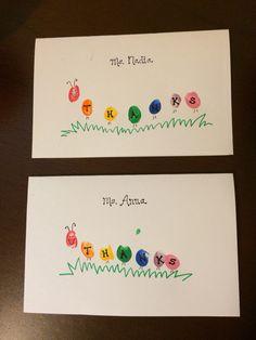 Thank you cards for teacher- caterpillar fingerprints