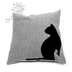 Sofakissen, Dekokissen 'black cats', 40 x 40 cm, Katzenkissen, Katzenmotiv, inkl. Füllkissen, Zierkissen
