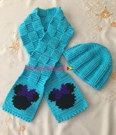 Crochet Stitches Dcfp : Crochet Kids Basketweave Minnie Face Scarf & Dcfp Hat ?? by Marcelle ...