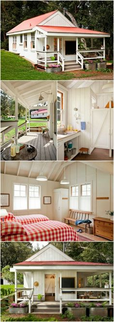This Cozy 260 Sq. Tiny House in Northern California Was Made for Kids - This foot tiny house sits in the middle of a farm and is used to host a group of children every summer for a yearly family camp. You may think it would be too juvenile Small Cottages, Cabins And Cottages, Loft, Casas Containers, Tiny House Living, Tiny House Family, House Sitting, Good House, Tiny Spaces