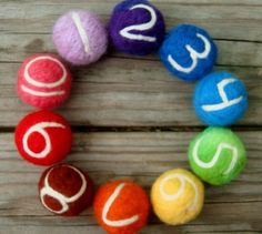 Rainbow needle felt counting balls