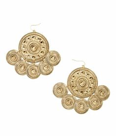 Style these metal earrings with large, embossed pendants with a cute blouse or dress. H&M. #ACCESSORIZEINHM