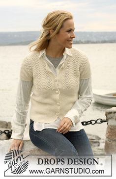 """DROPS jacket in """"Alpaca"""" with short sleeves and """"wave"""" pattern. Size S to XXXL. ~ DROPS Design"""