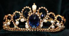 Blue tiara from crystals Swarovski and natural pears. Hand made