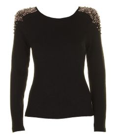 Black & Gold Beaded Long-Sleeve Top