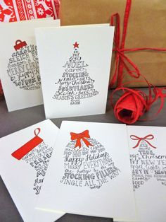 10 Hand-lettered Christmas card pack with five festive designs and red envelopes. 10 cards and envelopes in each pack.