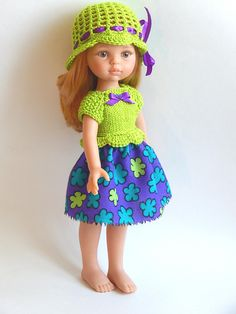 Knitted top knitted hat and skirt 13 inch doll clothes