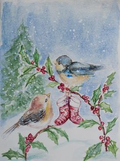 Merry christmas card, Christmas Watercolor, unique holiday card, Original Watercolor, christmas card, Christmas Painting, santa clause, bird by PDisanska on Etsy https://www.etsy.com/listing/479587817/merry-christmas-card-christmas