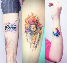 tattoo / aquarela / love / girl / anchor