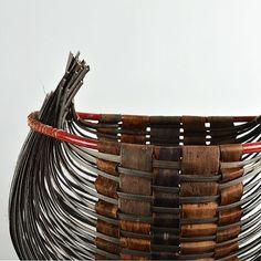 Sculptural basket woven with bark. Unique design by Danish basket maker Bent Vinkler.