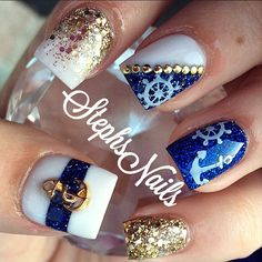Nautical nail art design by Stephs Nails Fabulous Nails, Gorgeous Nails, Pretty Nails, Sea Nails, Blue Nails, Glitter Nails, Gold Glitter, Nautical Nail Art, Nautical Nail Designs