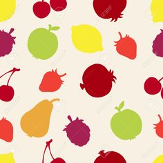 Seamless Pattern With Silhouette Fruits And Berries Apples .. Royalty Free Cliparts, Vectors, And Stock Illustration. Pic 27269503.