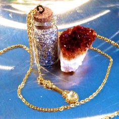 """Cork Vial Necklace by Best Kept Secret Jewelry. Small 1'' Vial w/ Silver Glitter Glass, Gold Seashell Charm, 30"""" Gold Chain"""