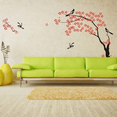 Cute and Cozy Japanese Tree and Birds Pictures for Modern Living Room Wall Paint Stickers Decals Decorating Designs Ideas