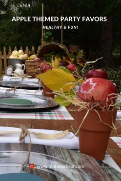 If you're throwing an apple, harvest or fall themed party, we have a super cute party favor for you to create! Click to learn how to create fresh, healthy apple favors for your guests! We worked with party stylist at GiggleLiving.com for this easy-to-do fall party favor idea! www.funtoeatfruit.com #apples #fallpartyideas #fallpartyfood #favors #personalizedfavors #thanksgivingdinnertable