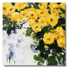 Yellow flower painting with textured