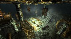 Shosalecht, camera d'assemblaggio. Questa vasta area pare essere il cuore operativo del complesso, dove venivano composti i letali costrutti dweomer. Un aracnide quasi completo giace su uno dei due grandi ripiani in pietra.