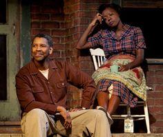 "Denzel Washington, with Viola Davis, directing the play ""Fences"" on Broadway"