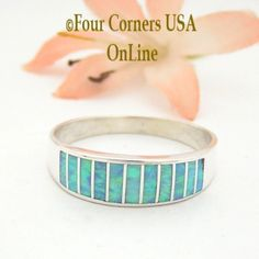 Size 13 Light Blue Fire Opal Inlay Wedding Band Ring Ella Cowboy WB-1609 Four Corners USA OnLine Native American Jewelry Wide Wedding Bands, Engagement Wedding Ring Sets, Pearl Drop Earrings, Bridal Earrings, Native American Wedding, Alternative Wedding Rings, Great Anniversary Gifts, Size 10 Rings, Minimalist Earrings