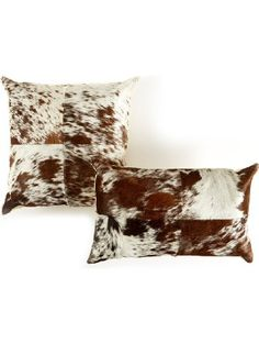 Two's Company Tozai Gray Leather Cowhide Pillows, Set of 2 ❤ TWO'S COMPANY