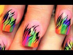 HOT Nails Playlist | Neon Nail Art hand painted Designs! - YouTube Rainbow Zebra, Neon Rainbow, Neon Nail Art, Neon Nails, Paint Designs, Nail Art Designs, Zebra Print Nails, Robin Moses, Nail Art Videos