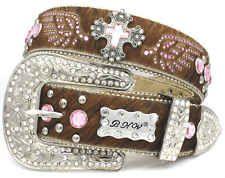 BHW Western Cross Pink Brown Hair on Hide Leather Belt Crystal Wings Xmas