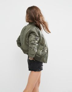 Image 3 of Boohoo Badge Detail Bomber Jacket