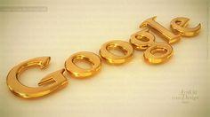 Google Gold - Art 3D logo Design high quality, 4k